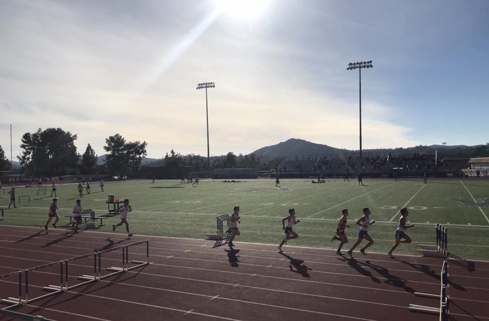 The JV boys track team runs the 1600 or the mile.
