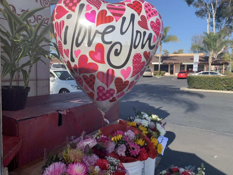 A Valentine's Day flower stand in Escondido.