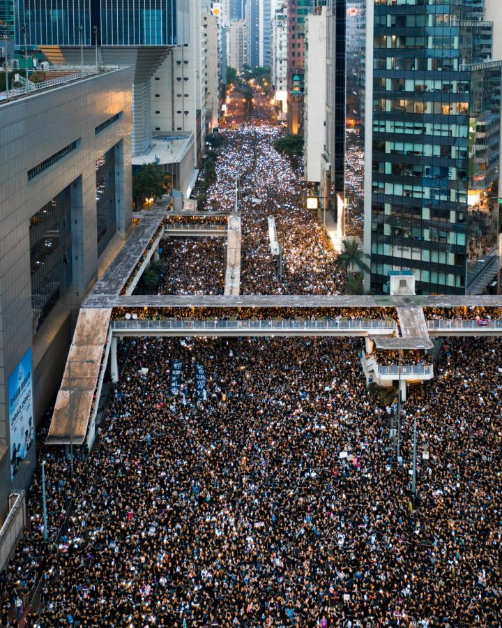 Demonstrators take to the streets in protest of the new extradition bill